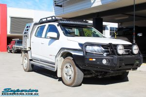 """Right front side view of a White Holden RG Colorado Dual Cab before fitment of a Superior Remote Reservoir 2"""" Inch Lift Kit"""