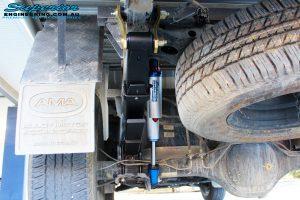 Rear left shot of the fitted Remote Reservoir Shock + Piggy Back Reservoir with Leaf Spring