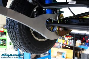 Front left underbody rear shot of the fitted Superflex Radius Arm