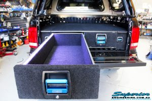 Rear inside mid shot of new newly fitted EGS Canopy + MSA 4x4 Double Drawer System with left side draw open