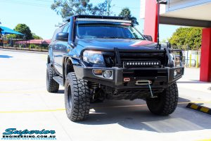 """Front on shot of the Blue Ford PX Ranger Dual Cab fitted with Superior 3"""" Inch Adjustable Monotube Remote Reservoirs & Coil Springs"""