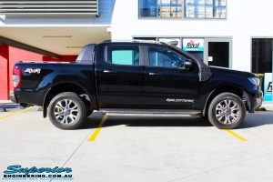 """Right side view of a Ford PXII Ranger in Black before fitment of a Superior 3"""" Inch Remote Reservoir Lift Kit, Rhino 4x4 Winch Bar, VRS Winch, GME UHF CB & Antenna, Nitto Ridge Grappler Tyres & Fuel Vaper Matte Black Wheels"""
