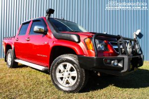 Right front side view of a Holden RC Colorado Dual Cab before fitment of a Dobinson 45mm Lift Kit