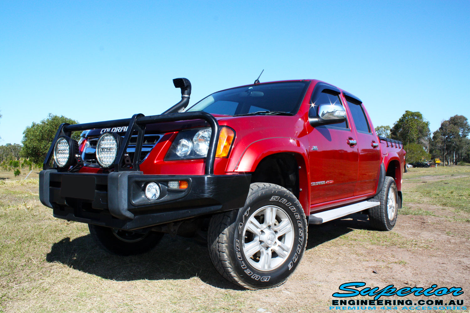 Left front side view of a Holden RC Colorado Dual Cab after fitment of a Dobinson 45mm Lift Kit