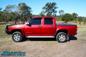 Left side view of a Holden RC Colorado Dual Cab after fitment of a Dobinson 45mm Lift Kit