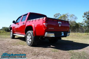 Rear left view of a Holden RC Colorado Dual Cab after fitment of a Dobinson 45mm Lift Kit