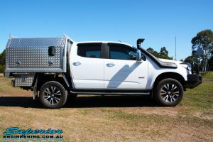 """Right side view of a White Holden RG Colorado Dual Cab after fitment of a Superior Remote Reservoir 2"""" Inch Lift Kit, Superior Chassis Brace/Repair Plate, Airbag Man Leaf Air Kit & Clearview Towing Mirrors"""