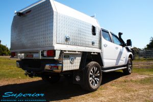 """Rear right view of a White Holden RG Colorado Dual Cab after fitment of a Superior Remote Reservoir 2"""" Inch Lift Kit, Superior Chassis Brace/Repair Plate, Airbag Man Leaf Air Kit & Clearview Towing Mirrors"""