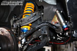 Front right inside guard view of the fitted Superior Adjustable Remote Reservoir Strut + Coil Spring