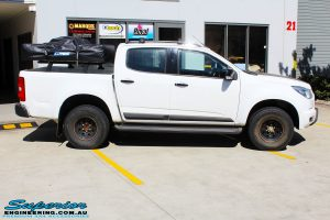 """Right side view of a White Holden RG Colorado Dual Cab before fitment of a Superior Nitro Gas 3"""" Inch Lift Kit"""