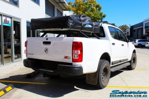"""Rear right view of a White Holden RG Colorado Dual Cab before fitment of a Superior Nitro Gas 3"""" Inch Lift Kit"""