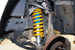 Left front inside view of the fitted Superior Nitro Gas Strut with Coil Spring