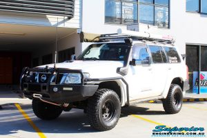 Front left side view of the Nissan GQ Patrol Wagon after fitment of a range of Suspension Components