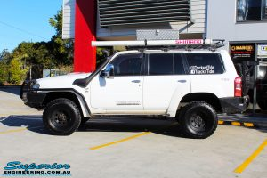 Left side view of a Nissan GQ Patrol Wagon after fitment of a range of Suspension Components