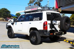 Rear left side view of a Nissan GQ Patrol Wagon after fitment of a range of Suspension Components