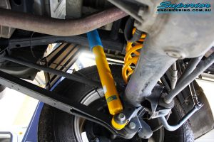 """Rear right underbody shot of the fitted Bilstein 2"""" Rear Shocks with King Coil Springs"""
