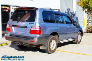 "Rear right view of a Blue Toyota 100 Series Landcruiser before fitment of a 2"" Inch Lift Kit"