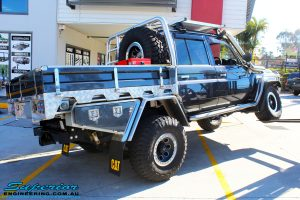 """Rear right shot of the flex before fitment of a 3"""" Inch Remote Reservoir Lift + Superflex Radius Arms"""