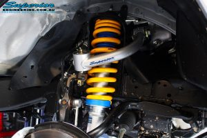 """Front left inside guard shot of the fitted Superior 2"""" Inch Lift Nitro Gas Front Strut, Superior Chromoly Upper Control Arm & Coil Spring"""