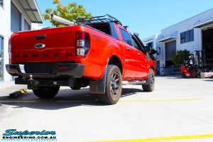 "Rear right view of a Orange Ford PX Ranger before fitment of a 2"" Inch Lift Kit"