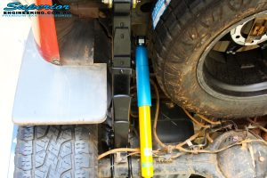 Rear underbody view of the fitted Bilstein Shocks + EFS Leaf Springs