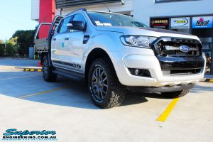 Right front side view of a Silver Ford PXIII Ranger Dual Cab before fitment with a Rhino 4x4 Evolution 3D Winch Bar