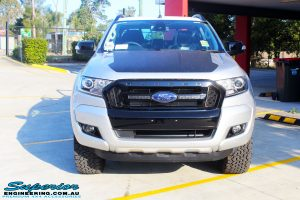 Front on bonnet view of a Silver Ford PXIII Ranger Dual Cab before fitment with a Rhino 4x4 Evolution 3D Winch Bar