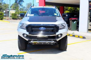 Front on bonnet view of a Silver Ford PXIII Ranger Dual Cab after fitment with a Rhino 4x4 Evolution 3D Winch Bar