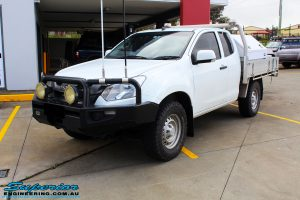 """Left front side view of a White Isuzu D-Max Space Cab before fitment of a Superior Nitro Gas 2"""" Inch Lift Kit"""