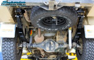 Rear underbody view of the fitted Tough Dog Foam Cell Rear Shocks, Leaf Springs & U-Bolt Kit