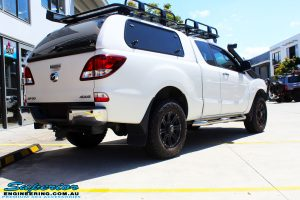"""Rear right view of a Mazda BT50 Freestyle Cab in White before fitment of a Superior Nitro Gas 2"""" Inch Lift Kit"""