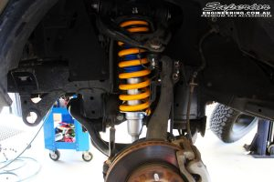 Front left inside view of the fitted Nitro Gas Front Strut + King Coil Spring