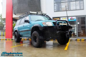 """Right front side view of a Blue Nissan GU Patrol before fitment of a Superior Nitro Gas Hyperflex 3"""" Inch Lift Kit with Superior Control Arms Long Arm Kit"""