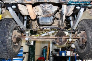Front mid underbody shot looking forward of the fitted Superior Hyperflex Radius Arms with Drop Boxes
