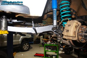 """Front right view of the fitted Superior Nitro Gas 2"""" Shock + Coil Spring, Swaybar Extension & Hybrid Superflex Radius Arm"""