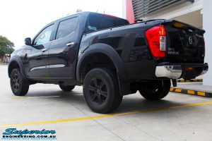 """Rear left view of a Nissan NP300 Navara Dual Cab after fitment of a Superior Nitro Gas 3"""" Inch Lift Kit"""