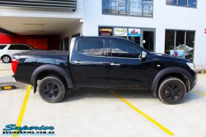 """Right side view of a Nissan NP300 Navara Dual Cab before fitment of a Superior Nitro Gas 3"""" Inch Lift Kit"""