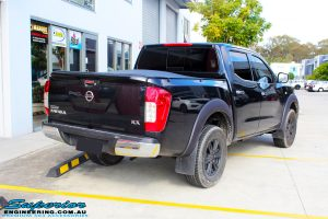 "Rear right view of a Nissan NP300 Navara Dual Cab before fitment of a Superior Nitro Gas 3"" Inch Lift Kit"
