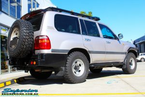 """Rear right view of a Silver Toyota 105 Landcruiser Wagon before fitment of a Superior Nitro Gas 2"""" Inch Lift Kit, Snorkel & Eaton Harrop Front & Rear E-Lockers"""