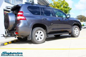 """Rear right view of a Grey Toyota 150 Landcruiser Prado Wagon before fitment of a Superior Remote Reservoir 2"""" Inch Lift Kit, Airbag Man Coil Air Kit & King Springs"""