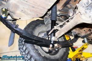 Rear left shot of the fitted EFS Comfort Ride Spring, Shock Absorber & Greaseable Shackles