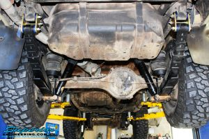 Rear mid underbody view of the fitted EFS Comfort Ride Springs, Shock Absorbers & Greaseable Shackles