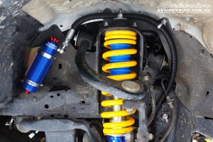 Right front inside view of the fitted Coil Spring with Superior Remote Reservoir Front Strut