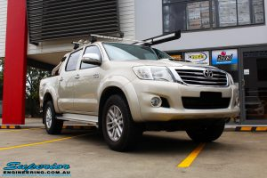 """Right front side view of a Gold Toyota Vigo Hilux Dual Cab before fitment of a 2"""" Inch Lift Kit & MCC4x4 Bullbar"""