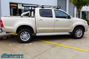 """Right side view of a Gold Toyota Vigo Hilux Dual Cab before fitment of a 2"""" Inch Lift Kit & MCC4x4 Bullbar"""