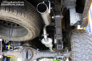 """Rear right close up shot of the fitted Genie 3"""" Mandrel Bent 409 Stainless Performance Exhaust"""