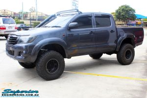 Left front side view of a Grey Toyota Vigo Hilux after fitment of a range of Superior and various other brands suspension components