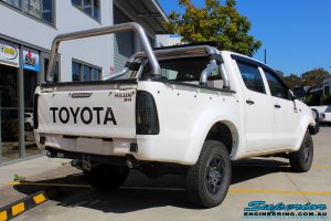 """Rear right view of a White Toyota Vigo Hilux before fitting a Superior Remote Reservoir 3"""" Inch Lift Kit"""