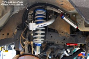 Left front inside view of the fitted Coil Spring with Superior Adjustable Remote Reservoir Front Strut & Chromoly Upper Control Arm