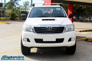 Front on bonnet view of a White Toyota Vigo Hilux before fitment of a MCC 4x4 Bullbar